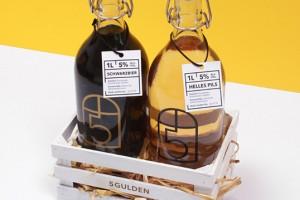 两瓶啤酒包装设计 5 Gulden 黑啤酒+比尔森啤酒