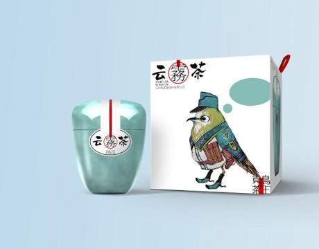 这个包装上有只鸟-云雾茶系列包装设计
