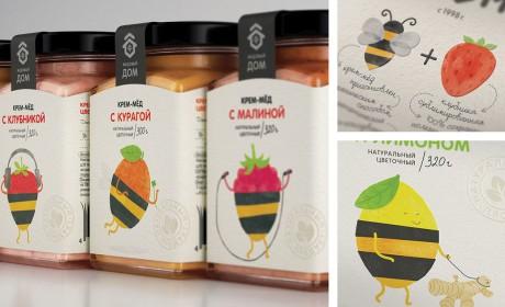 为了体现蜂蜜的不同特点,她做了两种性格的包装