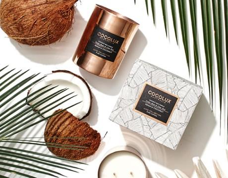 澳大利亚cocolux纯铜椰蜡烛包装设计