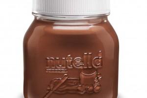 食品储存瓶,玻璃瓶设计Embossed Nutella 瓶子设计