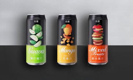 名屋食品果汁包装设计,喝果汁也可以很时尚