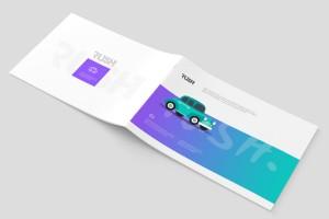 A4尺寸横版紫靛绿渐变画册设计模板欣赏