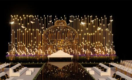 迪拜金色主题婚礼舞台亮瞎了眼