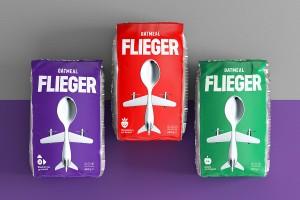 它是一只鸟吗? 这是一架飞机吗?这是FLIEGER燕麦粥食品包装设计