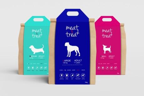 牛皮纸包装袋加手提封套,meat&treat狗粮包装设计