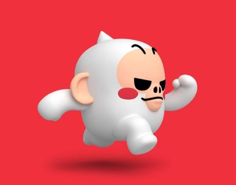 """一只充满活力的可爱白色大猩猩""""Kong""""3D人物造型设计"""
