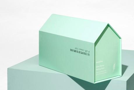 悦诗风吟绿色爽肤水包装设计,很漂亮干净配色