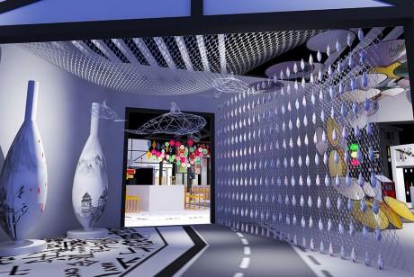 以黑白风格为主要建筑特色呃非遗文化快闪店别有一番滋味