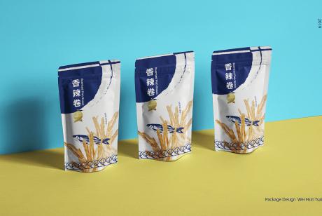 休闲食品香辣卷包装设计