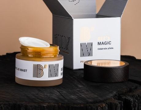 蜂胶香膏包装设计,线条结合烫金工艺的运用将蜂蜜特性展现的淋漓尽致