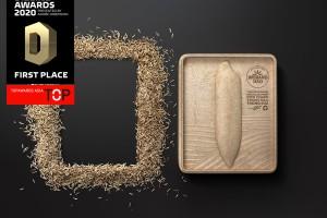 优质泰国大米环保包装设计,谷壳模压成型可再度作为纸巾盒使用。